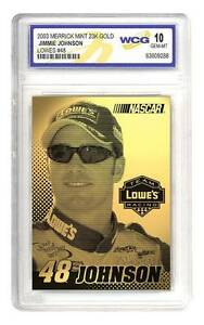 JIMMIE-JOHNSON-2003-Laser-Line-Gold-Card-LOWES-48-Graded-GEM-MINT-10-BOGO