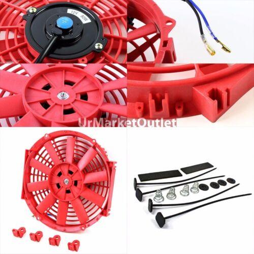"""Universal 10/"""" Red Slim Reversible Electric Radiator Motor Cooling Fan+Mounting"""