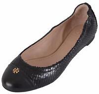 Tory Burch Women's York Black Snake Print Cap Toe Logo Ballet Flats Shoes