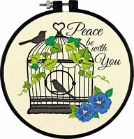 Dimensions Learn A Craft Birdcage Embroidery Kit Birds Flowers Peace Be With You Craft Supplies