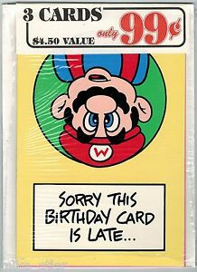 Nintendo-Mario-Bros-Greeting-Card-3-Pack-25-Nexoft-1989-Factory-Sealed