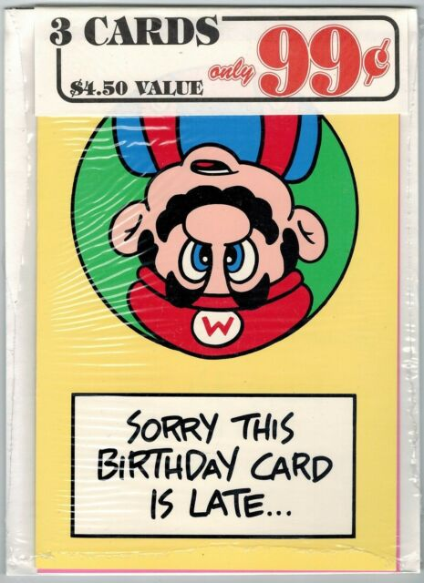 Nintendo Mario Bros Greeting Card 3 Pack #25 (Nexoft, 1989) Factory Sealed