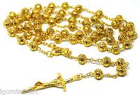 Men Jesus Cross Crucifix Pendant 18k Gold Bead Balls Rosary Necklace Jewelry UK