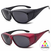 Womens Rhinestone Polarized Oval Lens Cover Fit Over Sunglasses M I