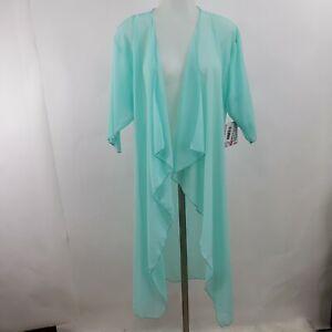 Lularoe-Shirley-S-Kimono-Sheer-Cascata-Increspatura-Blu-Verde-Manica-Corta