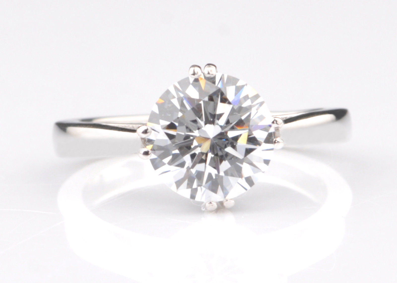 3.00 Ct Round Bridal Moissanite Engagement Ring 14K Solid White gold Rings 015