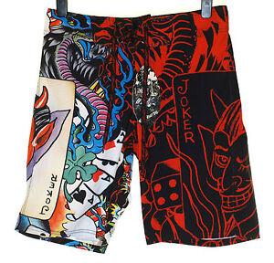 Bnwt-Authentic-Men-039-s-Ed-Hardy-Board-Swim-Surf-Shorts-Live-Once-Joker-New-Black