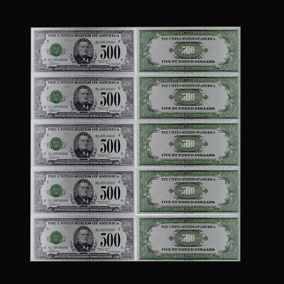 5pcs American Colorful Gold Banknote 500 Dollar 1918 Year Bill Note for Gifts