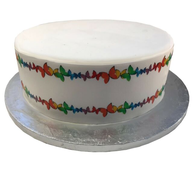 A4 Edible Decor Icing Sheet printed Bright Butterfly Border Ribbon for Cakes