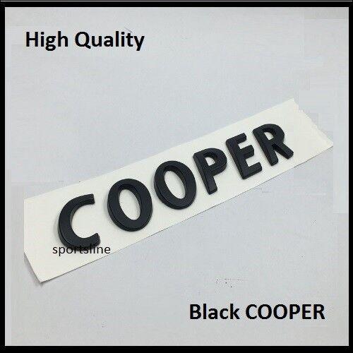 Black Cooper Badge Emblem Decal Letters Sticker Mini Boot Lid Tailgate Rear T37b