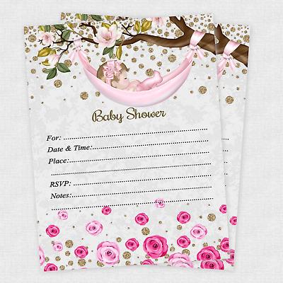 20 Rose Baby Girl Shower Invitations Invite Cards Invites Decorations Envelope Ebay