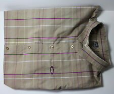 Oakley Men's 2XL XXL Short Sleeve Plaid Purple Tan Button Down Shirt