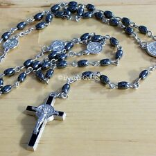 """New St Benedict Oval Hematite Black Beads Chained Rosary For Men 20""""L"""
