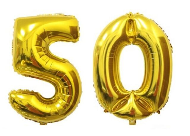 40 Large 50 Gold Number Balloons 50th Birthday Anniversary Foil Float Helium
