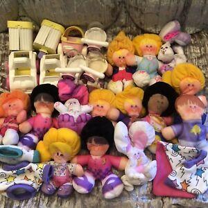 LOT-26-pc-Vintage-80s-Smooshees-People-Animals-Pets-Fisher-Price-Mini-Plush-Toys