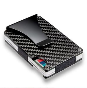 MEN RFID Blocking Slim Wallet Carbon Fiber Metal Credit Card Holder Money Clip