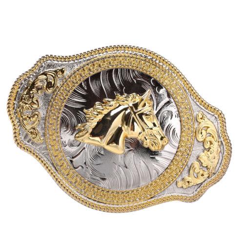 Vintage Western Cowboy Leather Belt Buckle Metal Golden Horse Head Mens Gift