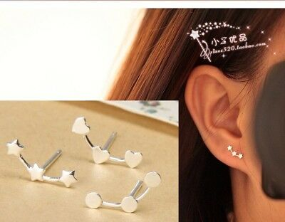 925 Sterling Silver 3 Stars Ear Stud Climber Crawlers Stud Earrings Gift Box S4