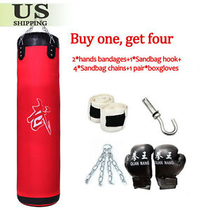 Heavy Duty Boxing Empty Punching Bag Hanging Kick Training MMA Taekwondo Workout