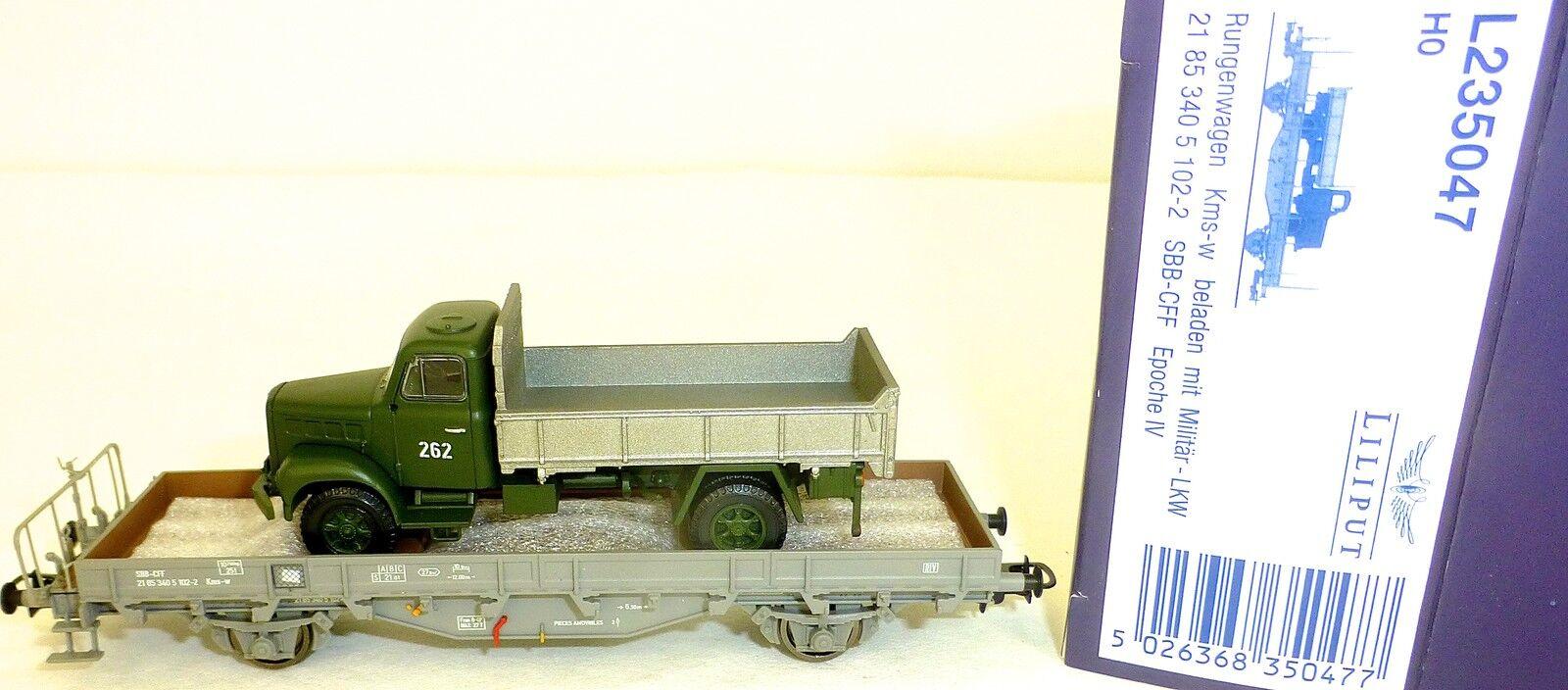 SBB Wagon Plat KMS Acide Militaire Camion Ep IV Liliput L235047 H0 1 87