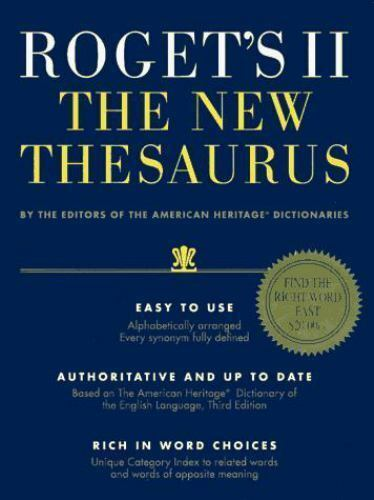 Roget's II : The New Thesaurus by American Heritage Dictionary Editors and  Houghton Mifflin Company Staff (1995, Hardcover) for sale online | eBay