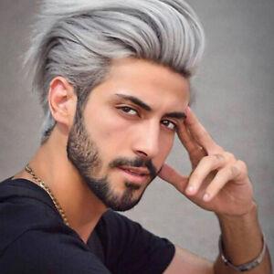 Fashion Men S Silver Gray Wig Short Grey Hair Wig For Men Short Grey Male Wig Ebay