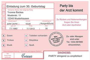 Das Bild Wird Geladen 20 Lustige Einladungskarten Geburtstag  Einladungen JEDES ALTER Arzt