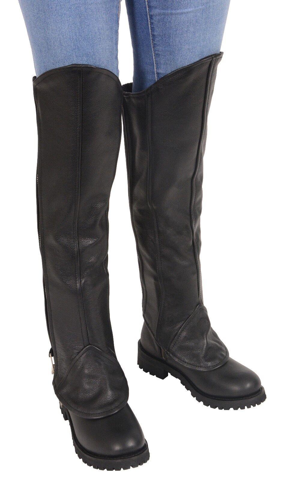 Ladies Leather Knee High Half Chap Leggings w  Zipper Entry  - LKL6755