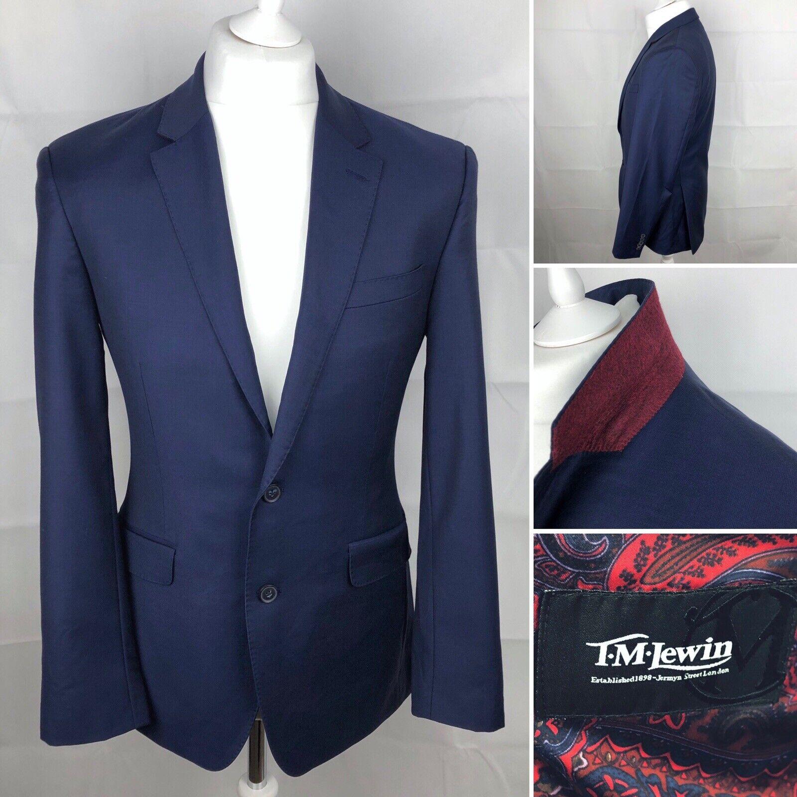 T.M.LEWIN Navy Blau Blazer Größe UK 38R Casual Mens Jacket Wool Races Work Smart