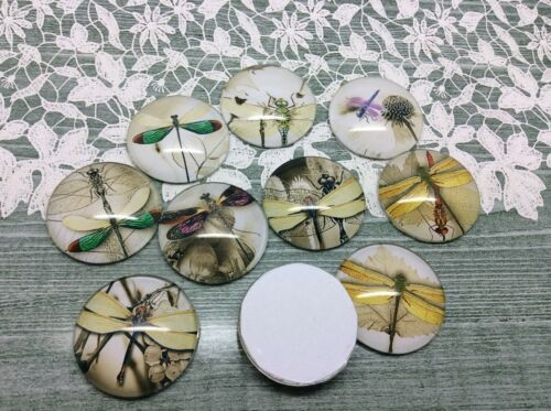 10 x Minimal Dragonfly Handmade Dome Cabochons 25mm jewellery making scrapbook