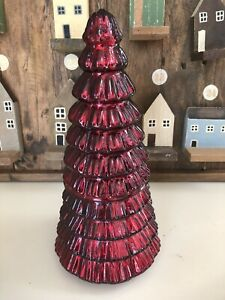 Pottery Barn Christmas Mercury Glass Tree Candle Antiqued Red New Spruce Decor Ebay