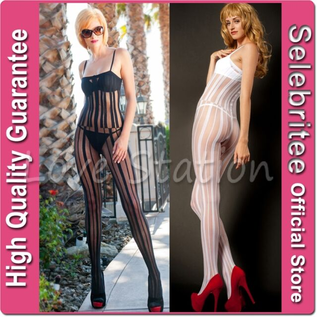 Sheer Bodystocking Open Crotch with Vertical Stripes Selebritee C154