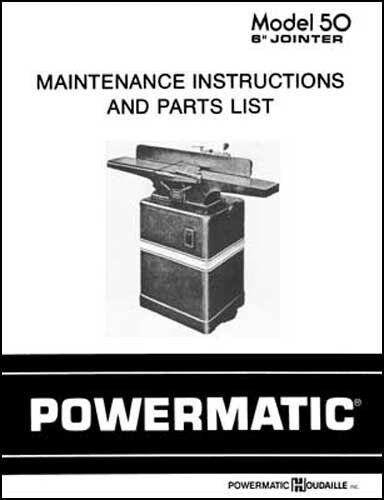 Powermatic Model 50 6 Inch Jointer Manual