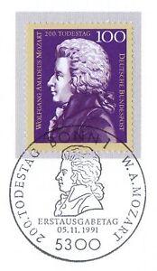Rfa 1991: Mozart Nº 1571 Avec Propre Bonner Ersttags-cachet Spécial! 1 A! 1904-rstempel! 1a! 1904afficher Le Titre D'origine