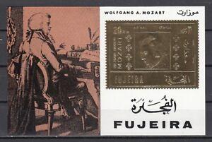 100% De Qualité Fujeira, Mi Cat. 779, Bl78. Compositeur Mozart, Feuille D'or S/feuille.-afficher Le Titre D'origine