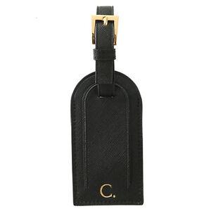PERSONALISED-MONOGRAMMED-Genuine-Leather-Luggage-Bag-Tag-Travel-Accessory-Black