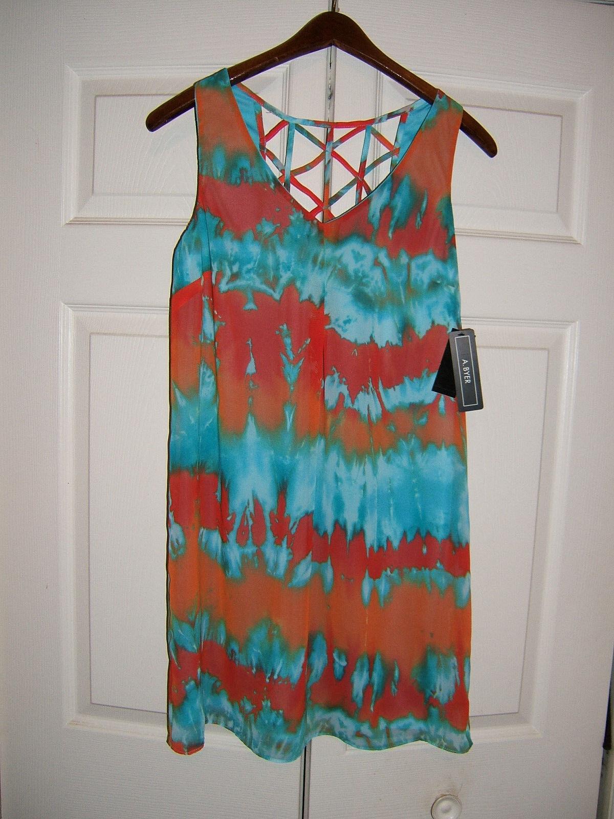 A. Byer Turqoise orange Ladies Size Medium Dress (NEW)