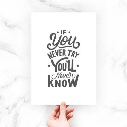 Always Try Motivational Positive Quote Life Typography Print Home Poster Gift