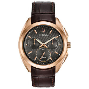 Bulova-CURV-Men-039-s-Quartz-Chronograph-Rose-Gold-Tone-Case-45mm-Watch-97A124
