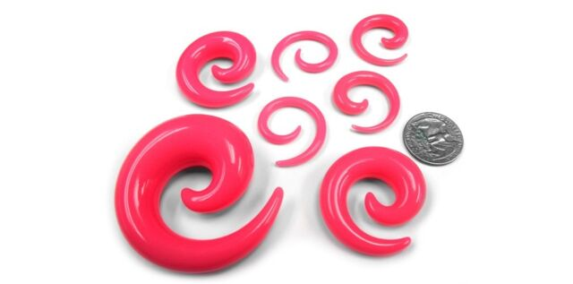 "1 Pair of Hot Pink Spirals Plugs! Sizes / Gauges (14G - 3/4"") - New!"