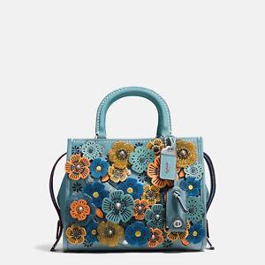 41cc6af2a8 Details about 100% auth COACH 1941 ROGUE 25 Tea Rose Pebble Leather Handbag  PINK/STEEL BLUE