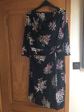 Beautiful Black Flowered Dress , Awesome Material, Size 14