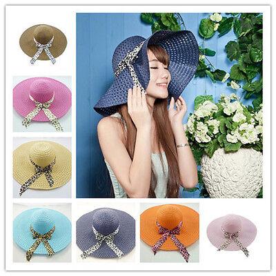 2015 Lady Women Wide Large Brim Summer Beach Straw Sun Hat With cap ribbon 65