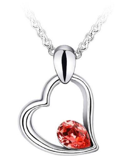 Anhänger,rosa Herz Kette Kristall 18 Karat Weißgold vergoldet Valentinstag!