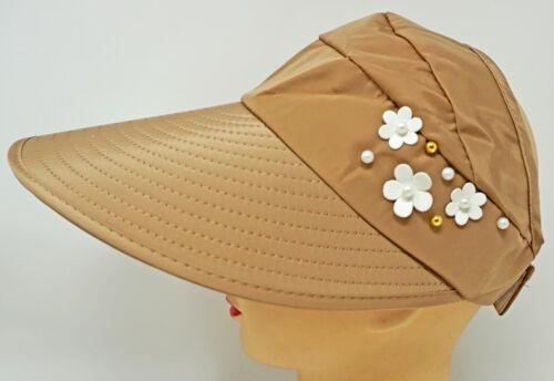 Women Summer Sun Visor Wide Brim Foldable Beach Floral Hat Cap OSFM New
