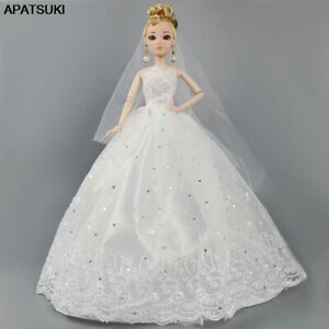 White-Doll-Dress-For-Barbie-Doll-Clothes-Veil-Wedding-Dresses-Outfits-For-Barbie