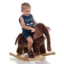 Happy Trails Plush Rocking Mo Mammoth Brown Elephant Rocker