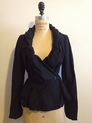 All Saints Black Wool & Linen Peplum Jacket Sz 6