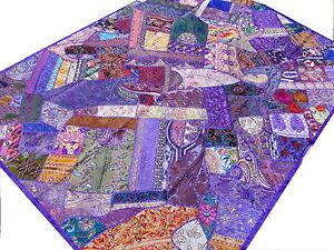 dessus de lit ethnique violet patchwork couvre lit - Dessus De Lit Violet