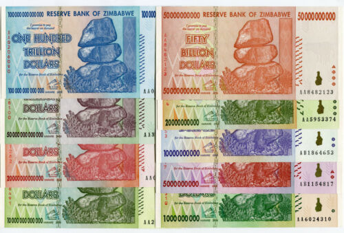 Zimbabwe 1 Billion to 100 Trillion Dollars banknotes 2008 full set UNC currency